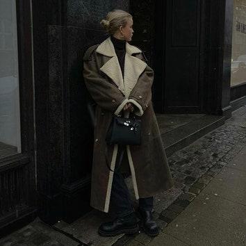 Дубленка-пальто — главный зимний фаворит модных блогеров