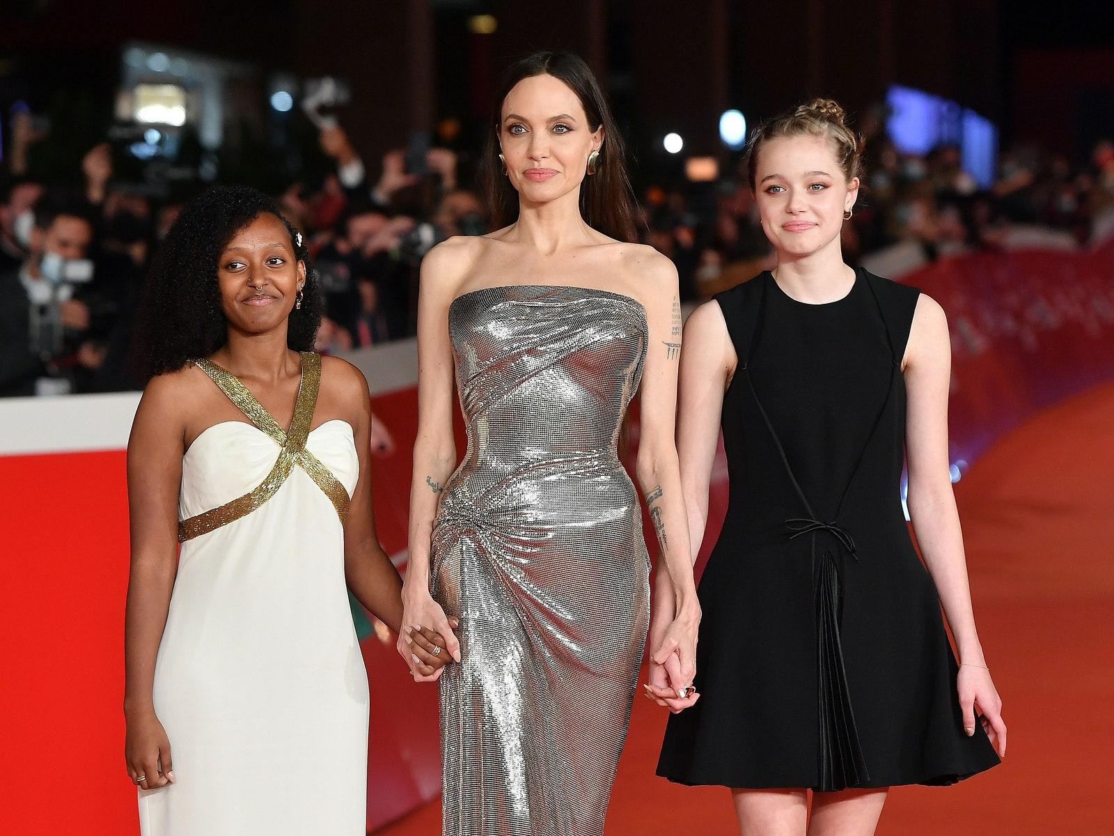 ROME ITALY  OCTOBER 24  Zahara Marley JoliePitt Angelina Jolie and Shiloh JoliePitt attend the red carpet of the movie...
